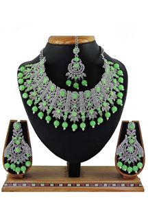 Picture of Flamboyant Light Green Colored Stone Imitation Necklace Set