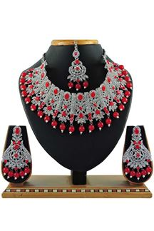 Picture of Stunning Red Colored Stone Imitation Necklace Set