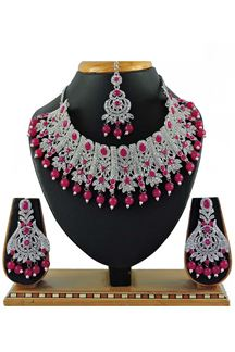 Picture of Wonderful Pink Colored Stone Imitation Necklace Set