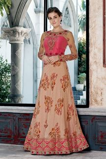 Picture of Gorgeous Peach And Pink Colored Designer Gown (Unstitched gown)