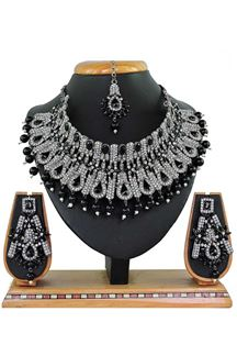 Picture of Fashionable Black Colored Stone Imitation Necklace Set