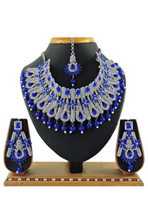 Picture of Dashing Royal Blue Colored Stone Imitation Necklace Set