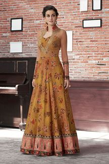 Picture of Mesmerizing Mustard And Peach Colored Gown (Unstitched gown)
