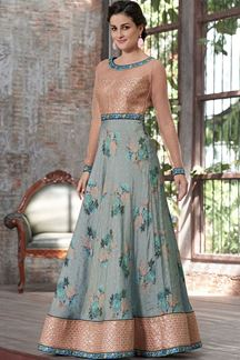 Picture of Elegant Light Blue & Peach Designer Gown (Unstitched gown)