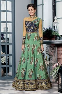 Picture of Smashing Blue & Green Colored Designer Gown (Unstitched gown)