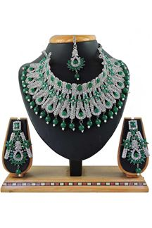 Picture of Glamorous Green Colored Stone Imitation Necklace Set