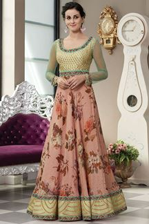 Picture of Aspiring Green & Peach Colored Designer Gown (Unstitched gown)