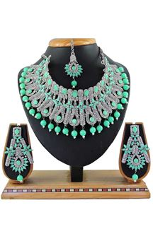 Picture of Pretty Green Colored Stone Imitation Necklace Set
