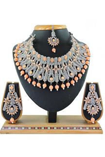 Picture of Trendy Peach Colored Stone Imitation Necklace Set
