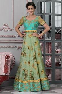 Picture of Exotic Green & Yellow Colored Designer Gown