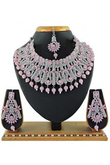 Picture of Stunning Baby Pink Colored Pearl Imitation Necklace Set