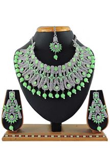 Picture of Blooming Green Colored Pearl Imitation Necklace Set