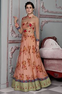 Picture of Alluring Peach Colored Designer Gown (Unstitched gown)