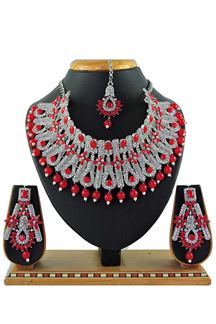 Picture of Unique Red Colored Pearl Imitation Necklace Set