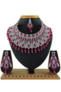 Picture of Awesome Pink Colored Pearl Imitation Necklace Set
