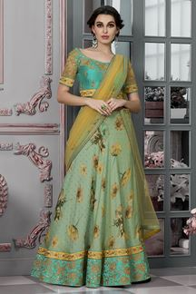 Picture of Exotic Green & Yellow Colored Designer Lehenga Choli