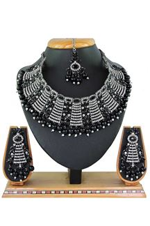 Picture of Wonderful  Black Colored Pearl Imitation Necklace Set