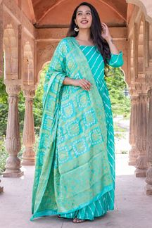 Picture of Tie & Dye Rama Colored Kurti With Dupatta