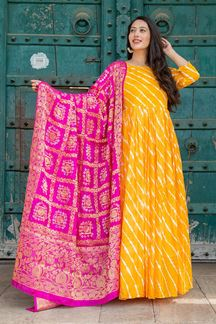 Picture of Tie & Dye Yellow Colored Kurti With Dupatta