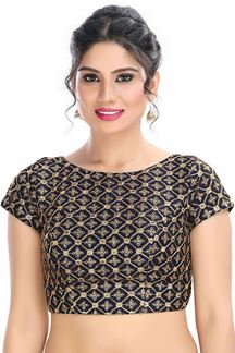 Picture of Fashionable Navy Blue Colored Latest Readymade Blouse