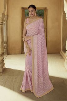 Picture of Gleaming Pink Colored Georgette Partywear Saree