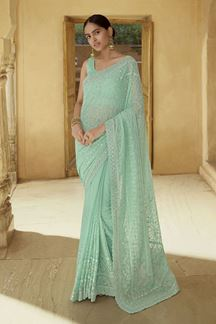Picture of Flaunt Green Colored Georgette Partywear Saree