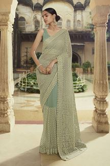 Picture of Capricious Green Colored Net Partywear Saree