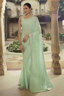 Picture of Charming Green Colored Georgette Saree