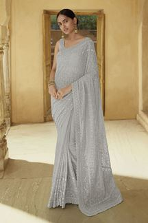 Picture of Demanding Grey Colored Georgette Saree