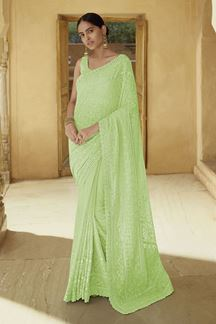 Picture of Stunning Green Colored Georgette Saree