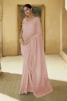 Picture of Lovely Peach Colored Georgette Saree