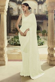 Picture of Trendy Off white Colored Net Party wear Saree