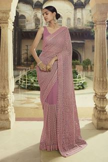 Picture of Exceptional Pink Colored Part wear Net Saree
