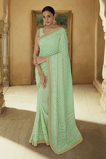 Picture of Elegant Green Colored Party wear Saree