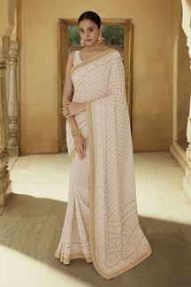 Picture of Stunning Beige Colored Georgette Party wear Saree