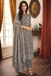 Picture of Grey Colored Digital Print Muslin Suit (Unstitched suit)