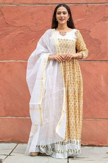 Picture of Partywear Designer Hand Block Print Work White Color Kurti With Dupatta