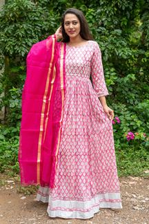 Picture of Partywear Designer Hand Block Print Work Pink Color Kurti With Dupatta