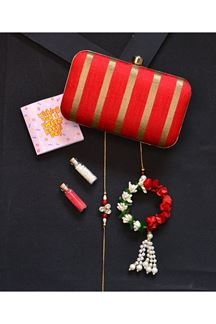 Picture of Attractive  Red Colored Designer Rectangular Shape Clutch