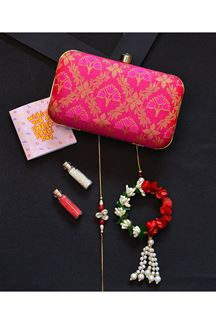 Picture of Gorgeous Rani Pink Colored Designer Rectangular Shape Clutch