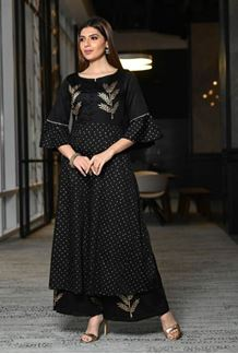 Picture of Black Hand Block Print Suit With Palazzo