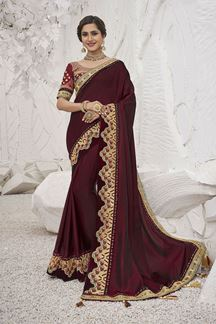 Picture of Amazing Maroon Colored Festive Wear Embroidered Satin Silk Saree