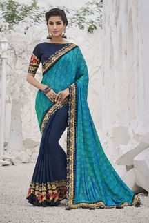 Picture of Charming Sky Blue & Navy Blue Colored Festive Wear Embroidered Silk Saree