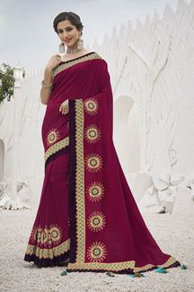 Picture of Engrossing Pink Colored Festive Wear Embroidered Silk Saree