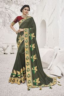 Picture of Innovative Light Sea Green  Colored Festive Wear Embroidered Silk Saree