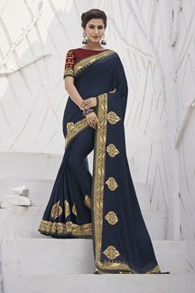 Picture of Gorgeous Navy blue Colored Festive Wear Embroidered Silk Saree