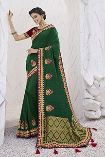 Picture of Blissful  Green Colored Festive Wear Embroidered Silk Saree