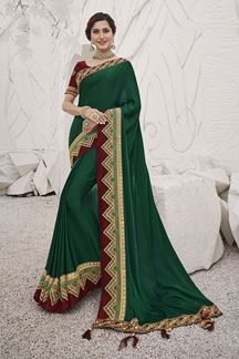 Picture of Glowing  Green Colored Festive Wear Embroidered Silk Saree