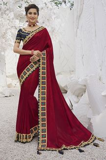 Picture of Maroon  Colored Festive Wear Embroidered Silk Saree