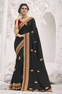 Picture of Smashing Black Colored Festive Wear Embroidered Silk Saree